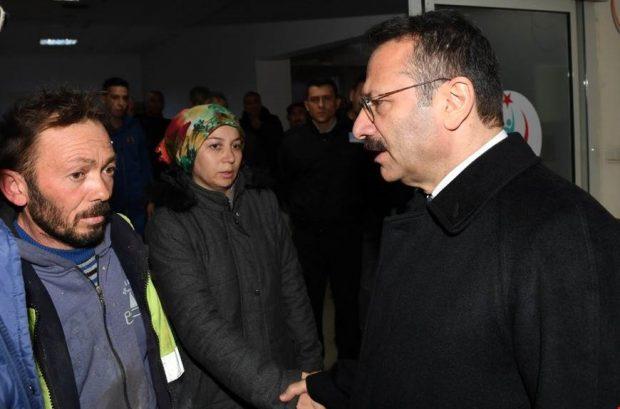 Vali Aksoy yaralanan işçiyi ziyaret etti