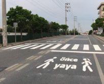 """""""Önce Yaya"""" zemin işaretleri yenilendi"""
