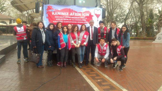 Hacı  Halit Erkut Anadolu Lisesinden  Afrin  Harekatına anlamlı destek!