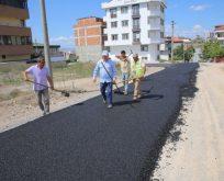 Çiftçi, asfalt çalışmasını yerinde inceledi