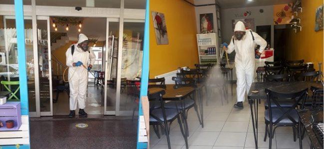 Kafe ve lokantalar dezenfekte edildi