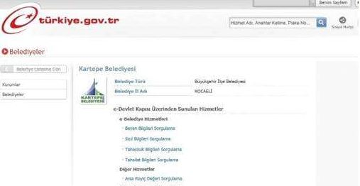 Kartepe Belediyesi e-devlet uygulamasında