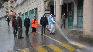 Tüm cadde ve sokaklar 4 tur dezenfekte edildi
